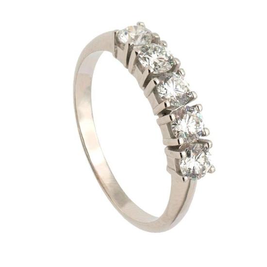 Sortija en oro blanco con cinco diamantes en garras
