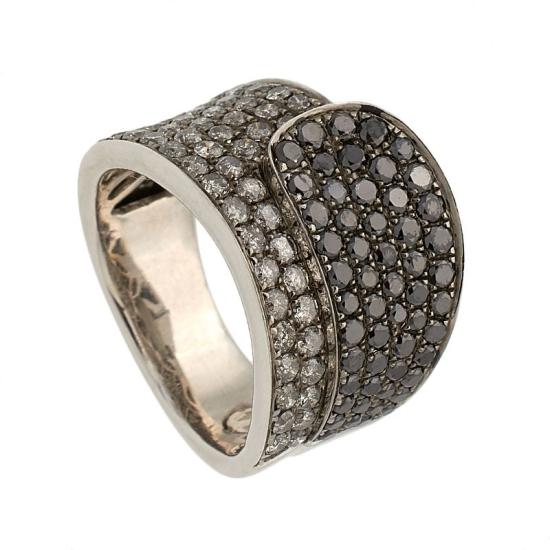 Sortija diamantes negros y grises - 1