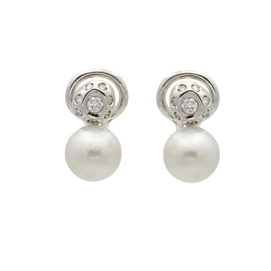 Pendientes de perlas australianas y diamantes - 1019
