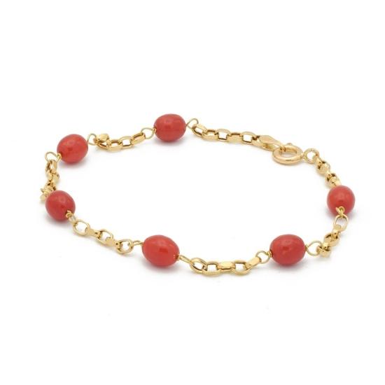 Pulsera de oro con perlitas de coral rojo - 0318 - 1