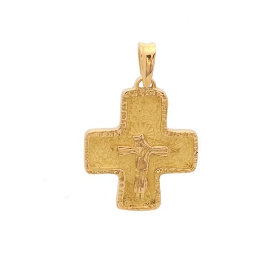 Cruz cuadrada de oro amarillo con figura de Cristo - 0362