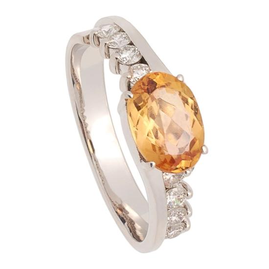 Sortija con Topacio Imperial y diamantes - 0728