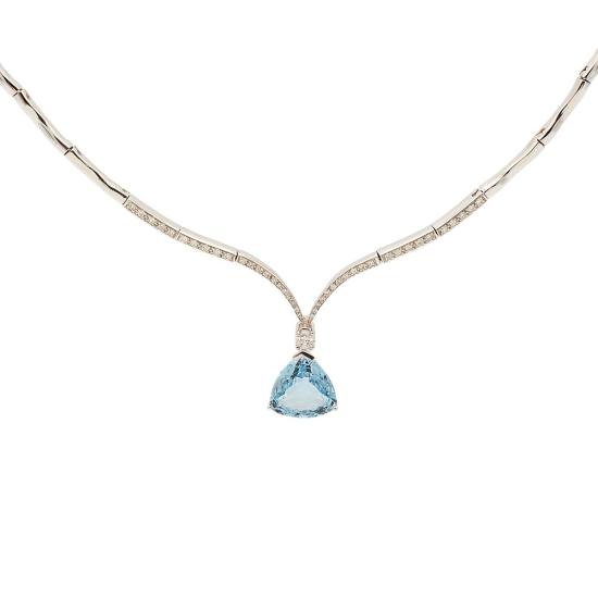 Gargantilla con aguamarina  y diamantes - 0028 - 1