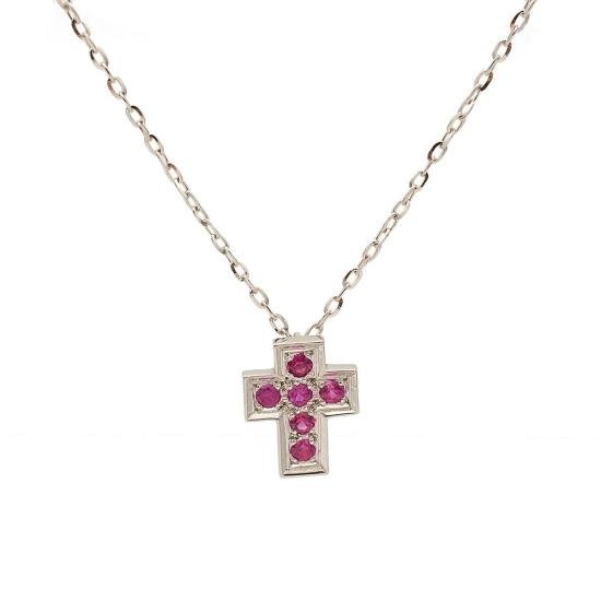 Colgante en forma de cruz con rubíes - 1138 - 1