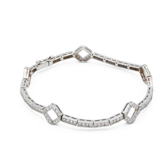 Pulsera semirígida de oro blanco y diamantes - 1089 - 1