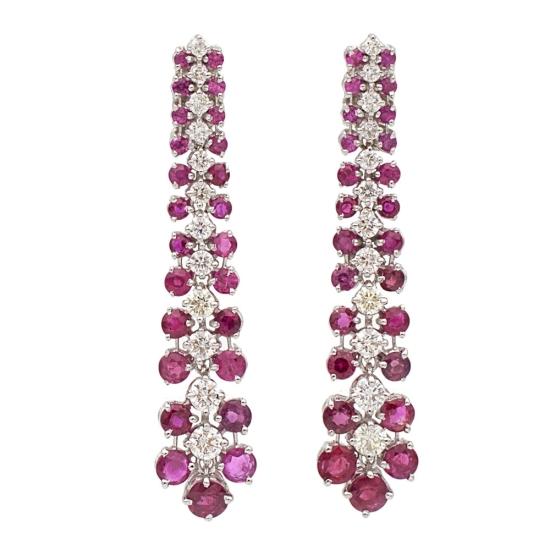 Pendientes largos con diamantes y rubíes - 0440 - 1