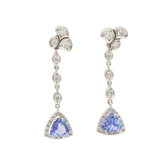 Pendientes largos con diamantes y tanzanitas - 1299 - 1