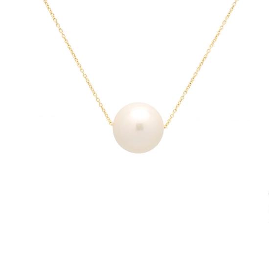Colgante con perla cultivada y cadena de oro amarillo - 1