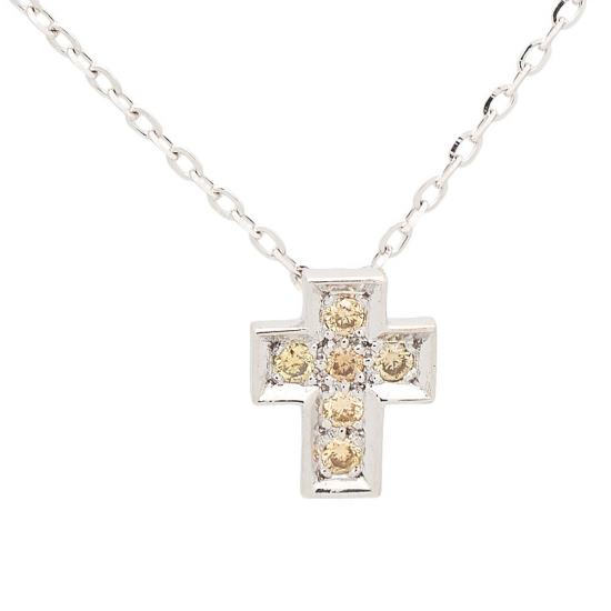 Cruz y cadena de oro blanco con diamantes amarillos - 1