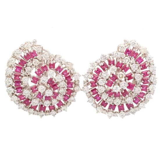 Pendientes en espiral con diamantes y rubíes - 1