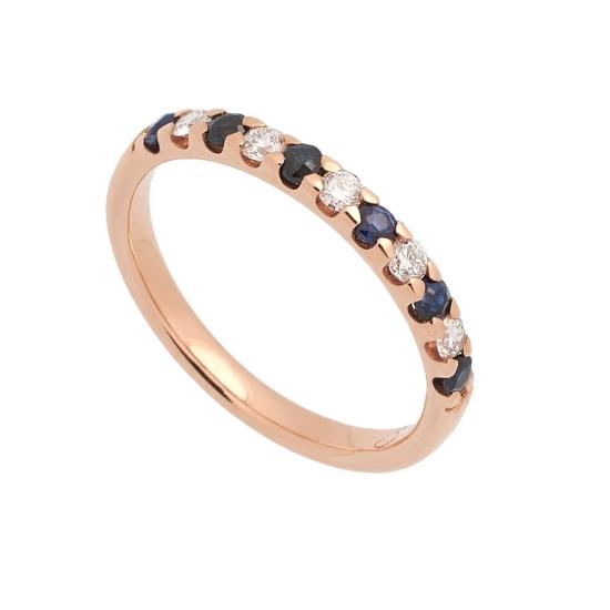 Media alianza de oro rosa con diamantes y zafiros - 1122 - 1