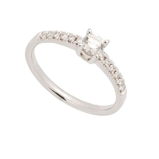Media alianza de oro blanco y diamantes - 1009 - 1