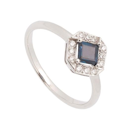 Sortija cuadrada de oro blanco con diamantes y zafiro - 1193 - 1