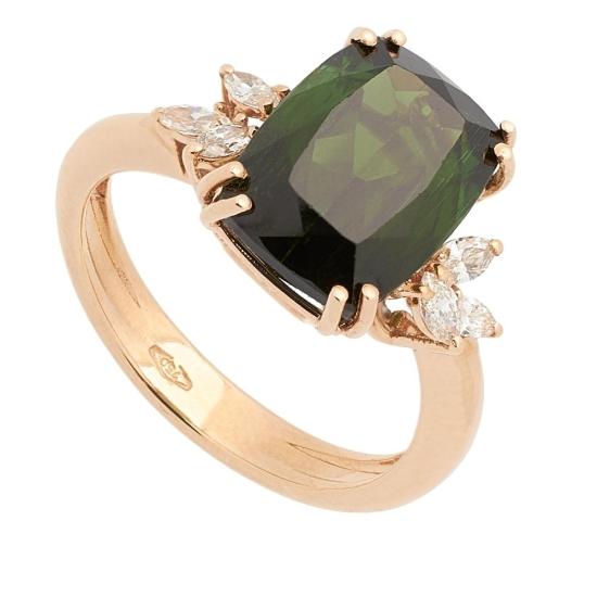 Sortija con Turmalina y Diamantes - 0446 - 1