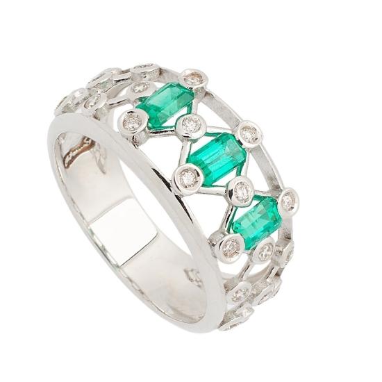Sortija de Esmeraldas y Diamantes - 1239 - 1