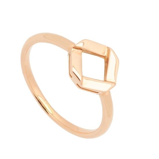 Sortija de oro rosa con motivo geométrico - 1205 - 1