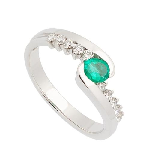 Sortija de Esmeralda y Diamantes - 1209 - 1