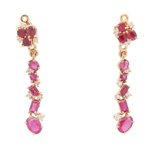 Pendientes desmontables con rubíes y diamantes - 0452 - 1