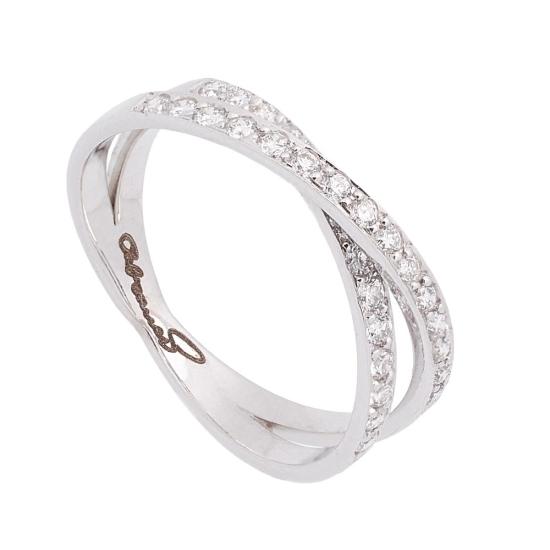 Sortija cruzada de oro blanco con diamantes - 1196 - 1