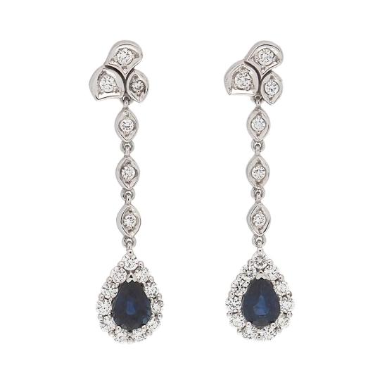 Pendientes largos con diamantes y zafiros - 1