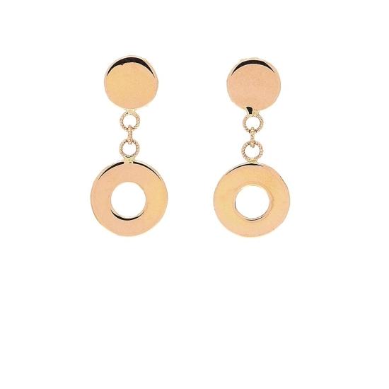 Pendientes de oro rosa y forma circular - 1