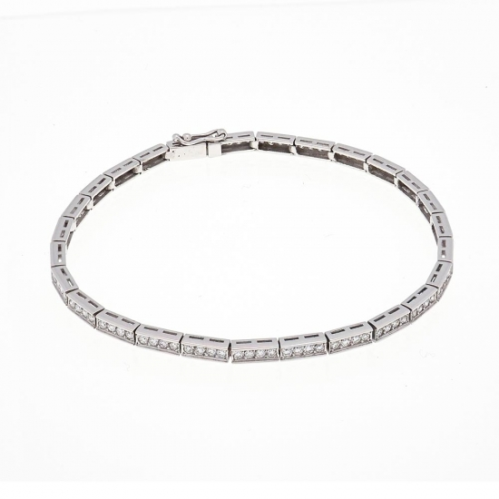 Pulsera semirígida de oro blanco y diamantes - 1