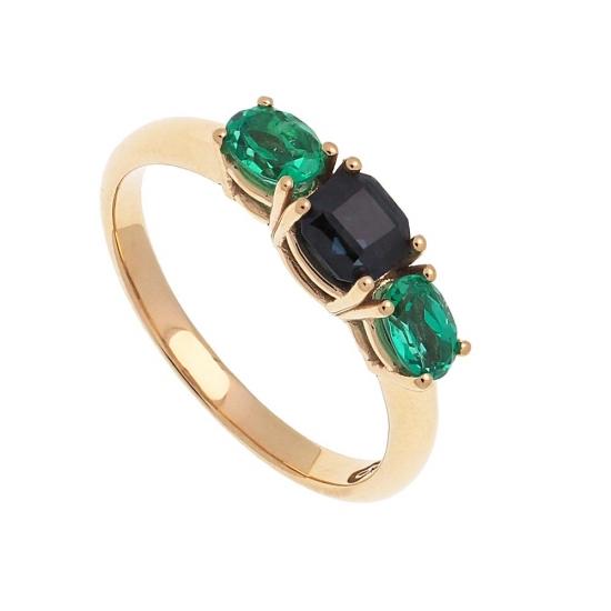 Sortija de oro con esmeraldas y zafiro - 1
