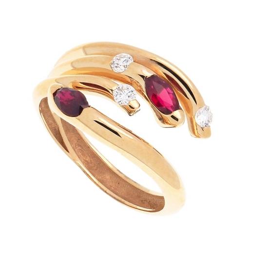 Sortija multibrazo de oro con rubíes y diamantes - 1