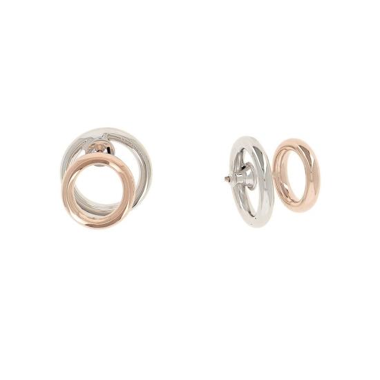 Pendientes de doble aro en rodio y oro rosa - WPLVO1772 - 1