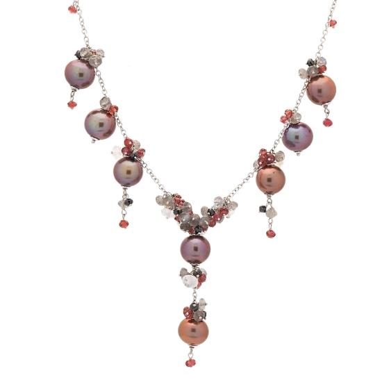 Gargantilla de oro blanco, perlas marrones y turmalinas - 1