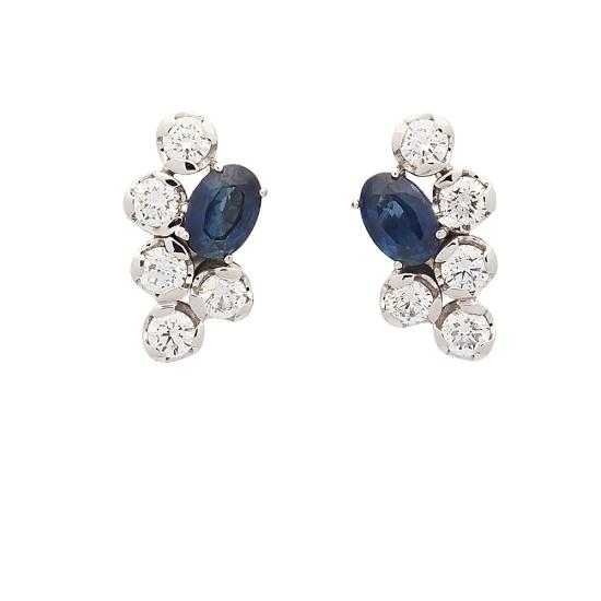 Pendientes de oro blanco, zafiros y diamantes - 1