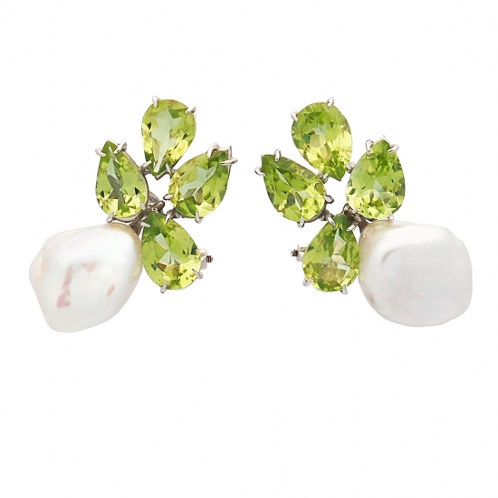 Pendientes de perlas y peridotos - 1