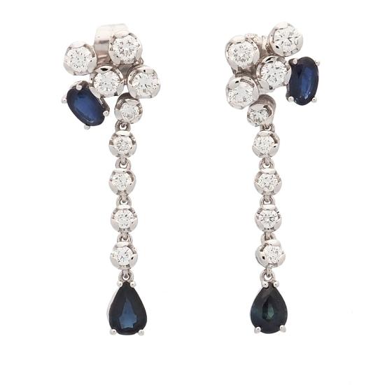 Pendientes largos de zafiros y diamantes - 1