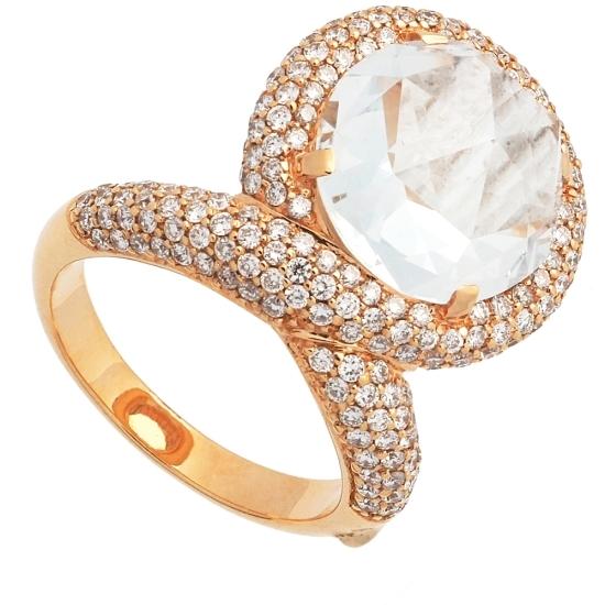 Sortija con topacio central y diamantes - 1