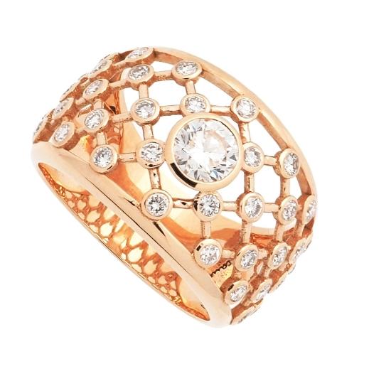 Sortija de oro rosa con esmeralda y diamantes - 1