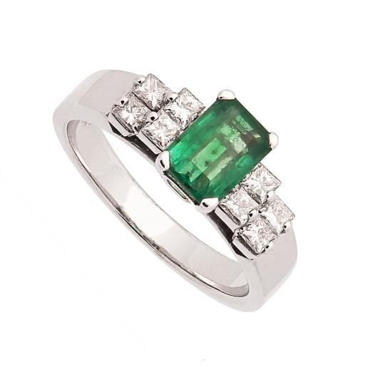 Sortija de oro blanco con esmeralda y diamantes - 1